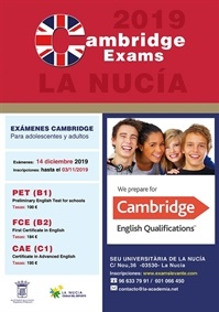 La Nucia cartel exams cambridge diciembre 2019
